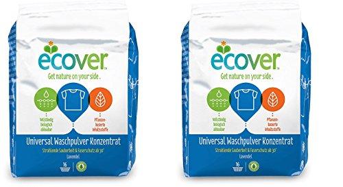 Ecover Universal Waschpulver Konzentrat Lavendel, Strahlende Sauberkeit & Faserschutz ab 30 Grad, 2 x 1,2kg