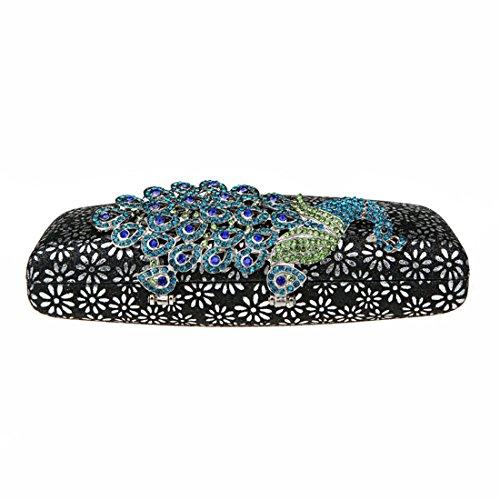 57f9794b1a464 ... KAXIDY Damen Handtasche Clutch Glänzende Pfau-Kristall Buckle  Damentasche Tasche Abend Handtasche Abendtasche (Blau ...