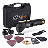 Tacklife Oscillating Tool Cordless 12V, Combat Multi Tool with 2.0Ah Lithium Battery, 6 Variable Speed, Quick Change Fitting, 24pcs Accessories Includes Cutting Discs, Blades, Sander Sheets/PMT01B