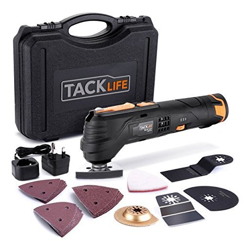 Tacklife Oscillating Tool Cordless 12V, 2.0Ah Lithium Battery, 6 Variable Speed, Quick Change Fitting, 24pcs Accessories Includes Cutting Discs, Blades, Sander Sheets/PMT01B