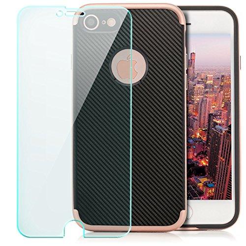 zanasta® iPhone 8 / iPhone 7 Hülle + Panzerglas Schutzhülle Case Cover [Ultra Hybrid] TPU Slim Silikonhülle Carbon-Optik Grau Schwarz-Rosegold