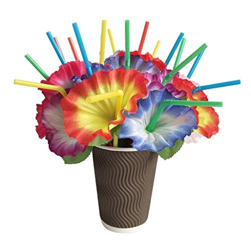 MagiDeal 20 Stück Bunte Strohhalme Trinkhalme mit Blume Deko für Hochzeit Geburtstagsfeier Party