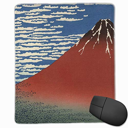 Red Fuji Rectangle Non-Slip Rubber Mouse Pad with Stitched Edges -