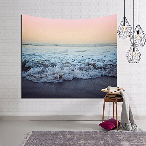 Arfbear Meer Tapestry, Wandbehänge Meer Blau und Rot Aquarell Gedruckt Natur Große Tischdecken...