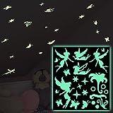 Autoadesivi luminosi Fate - Autoadesivi che luminano nel buio, Adesivi per la decorazione ed ornamentazione, Sticker che luminano di notte, Motivi fosforescenti e tatuaggi murali luminescenti (A4 , Verde)