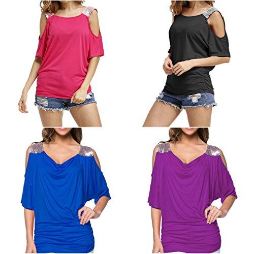 Smile YKK Schulterfrei Damen Shirt Casual T-Shirts Sommer Kurzarm Shirts Schwarz