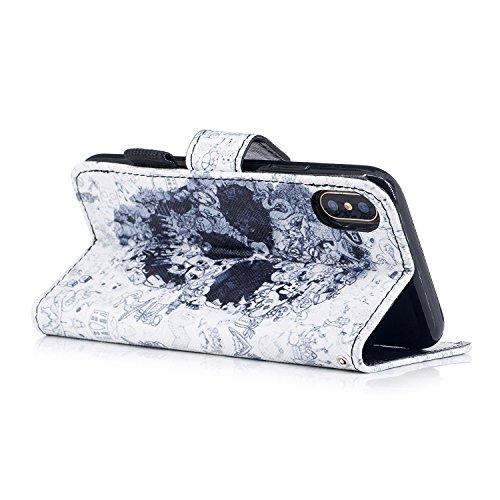 inShang Custodia per iPhone X 5.8 inch con design integrato Portafoglio, iPhoneX 5.8inch case cover con funzione di supporto. Skull head