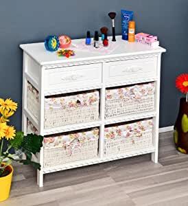 kommode badschrank flurschrank mit 70 cm breite in weiss mit zwei schubladen und vier k rben mit. Black Bedroom Furniture Sets. Home Design Ideas
