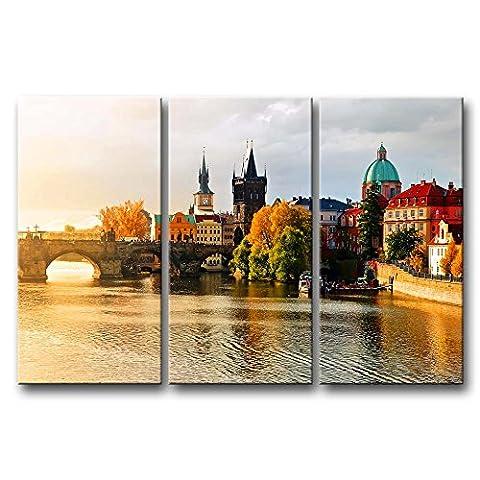 3Stück Wand Kunst Gebäude, Bild Prag Bilder Druck auf Leinwand City der Decor Öl für Home Moderne Dekoration Print für Möbel