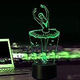3D danseuse Nuit LED Lampes Art Déco Lampe la couleur changeant lumières LED, Décoration Décoration Maison Enfants Meilleur cadeau, Lumière Touch Control 7 couleurs Change