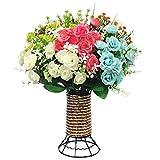 Fiori artificiali, 8 fasci Fiori finti con vaso di fiori in plastica Bouquet per la decorazione domestica dell'ufficio di nozze del partito del giardino