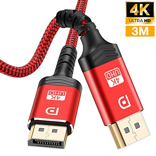 Câble DisplayPort 3M,Câble DP 4K en Nylon tressé[4K@60Hz,1440p@144Hz],Câble DisplayPort vers DisplayPort Câble pour Ordinateur Portable, TV, TV,PC ASUS/Dell/Acer - Câble de Moniteur de Jeu (Rouge)