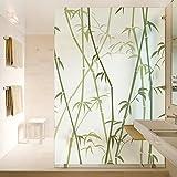 FangKuai FKAL1055 Dicor Dekorative Fensterfolien Kein Klebstoff Schutzfolie, Statische Glasmalerei Für Zuhause Schlafzimmer Bad Klammern, Bambus