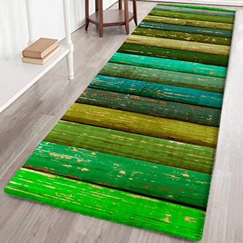 Bornbayb 3d green wood grain background tappetini da bagno e tappeti, tessuto flanella tappeto antiscivolo in gomma tappeto da bagno tappetino decorativo 60x180cm