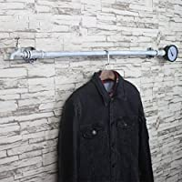 SKC Lighting-Coat racks Wrought Iron Coat Rack Commodity Rack Vintage Industrial Water Pipe Wall Hanging Rack For Living/Lobby Bedroom Study Hard/Difficult To Rusty/Removable Black, White, Coffee Color(60cm, 80cm, 100cm)