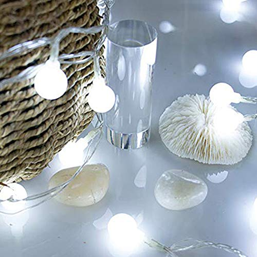 Gaddrt 2 m alimentato a batteria LED Fairy stringa tenda luci di Natale albero esterno lampadine LED Home Xmas decorazione, White, 50 LED Beads(5m) 220.0volts