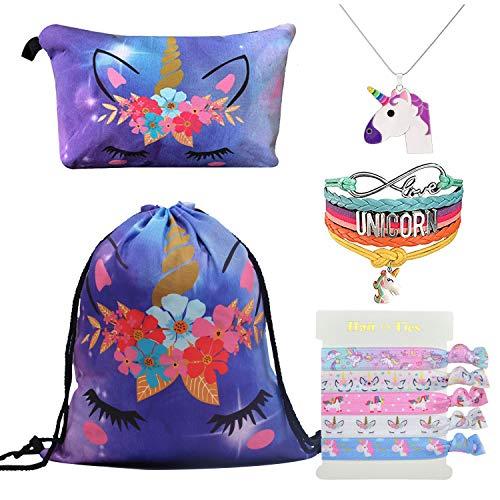 DRESHOW Einhorn Geschenke für Mädchen Kordelzug Rucksack/Make Up Tasche/Anhänger Halskette/Armband Armband / 5 Haargummis Einhorn Set Kinder Party -