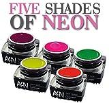 5er-Set FIVE SHADES OF NEON Profi Colorgel Nagelgel Neon Farben Nagelset Gelset Farbgele mit hoher Leuchtkraft