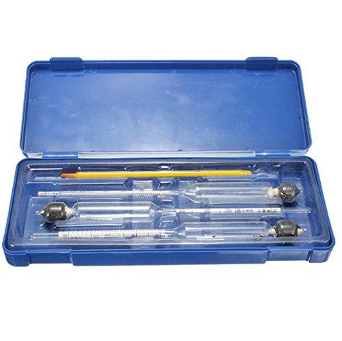 Hensych 3-teiliges Hydrometer- / Alkoholtester-Set 0 bis 100% Alkoholgehalt Messgerät + Thermometer (Messen Alkoholgehalt Den Sie)