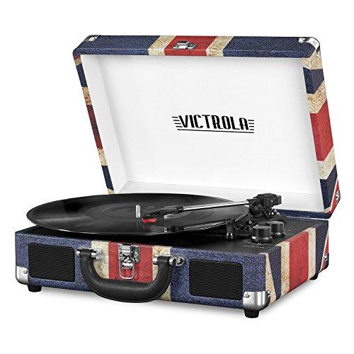 Victrola Vintage - Valigia Girevole Bluetooth a 3 velocità, con Altoparlanti, Colore: Nero One Size UK Flag