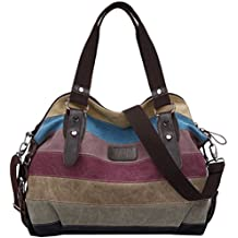 Coofit Multi-Color-Striped Canvas Damen Handtasche