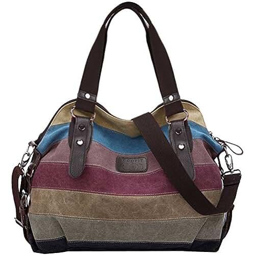 bolsos para el dia de la madre Multicolor rayas la lona de los totalizadores del bolso de las mujeres Hobos y bolsos de hombro