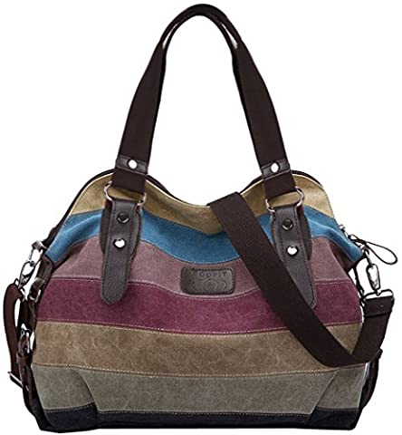 Coofit Multi-Color Striped Canvas Totes Handbag Women's Hobos and Shoulder Bags