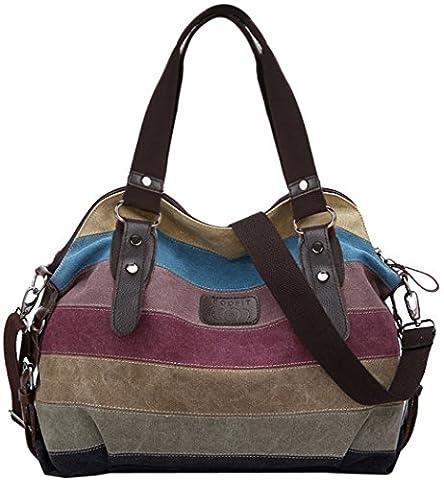 Coofit Multi-Color Striped Canvas Totes Handbag Women's Hobos and Shoulder