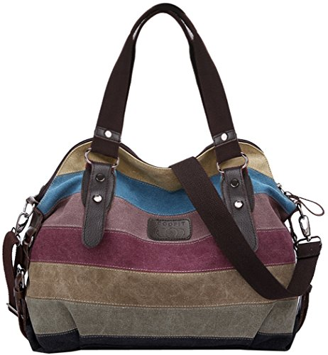 - 518WmoHNw8L - Coofit Multi-Color Striped Canvas Totes Handbag Women's Hobos and Shoulder Bags  - 518WmoHNw8L - Deal Bags