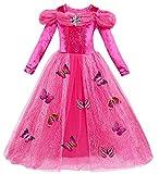 Le SSara Vestito fantasia della principessa Cosplay della ragazza lunga del manicotto (130, A-rosa rossa)