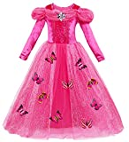 Le SSara Langarm Mädchen Prinzessin Cosplay Kostüme Fancy Schmetterling Kleid (130, A-rose rot) (Textilien)