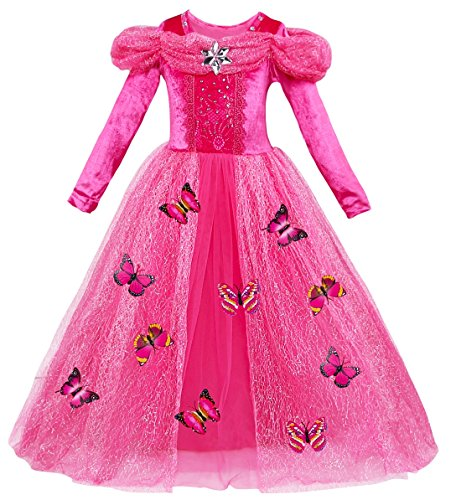 Le SSara Langarm Mädchen Prinzessin Cosplay Kostüme Fancy Schmetterling Kleid (120, A-rose (Kostüme Präsentieren Weihnachten Sie)