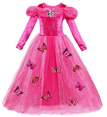 Le SSara Langarm Mädchen Prinzessin Cosplay Kostüme Fancy Schmetterling Kleid (120, A-rose rot)