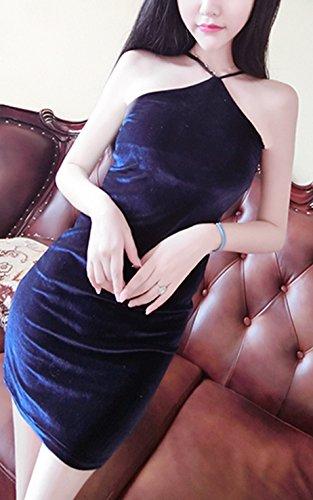 Mesdames Robes De Soirée Courte Dos Nu Elegante Vintage Moulante Cocktail Robes Habillées Robes Rétro Bleu