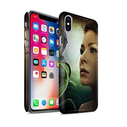 Offiziell Elena Dudina Hülle / Matte Snap-On Case für Apple iPhone X/10 / Sonrisas/Delphin Muster / Agua de Vida Kollektion Tiefsee/Seepferdchen