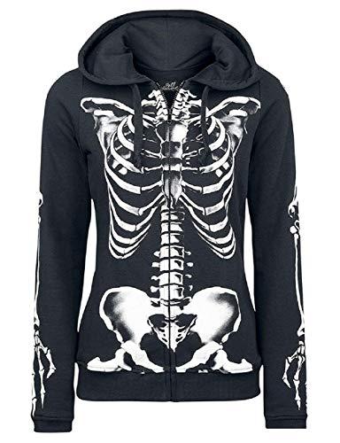 Nlife Frauen Langarm Reißverschluss vorne Skull Skelett Print Hoodie Sweatshirt mit Tasche - Mit Reißverschluss Vorne Pullover