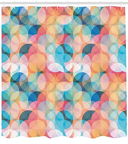 er Curtain, Soft Toned Hazy Overlap Circles Mosaic Birthday Party Pastel Design, Fabric Bathroom Decor Set with Hooks, 66x72 inches Extra Long, Peach Blue ()