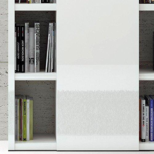 Wohnwand Bücherregal Hochglanz weiß Aktenregal Wandregal Regal CD DVD Büromöbel - 3