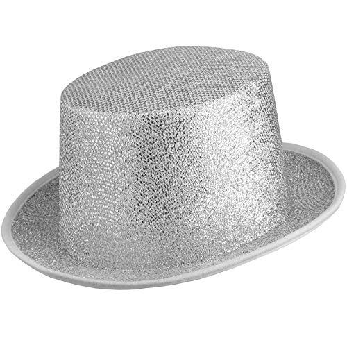 dressforfun 901029 Unisex Glitzer Zylinder Show Hut, nach Oben gewölbte Krempe, stabile Form - Diverse Farben - (Silber | Nr. 304582)