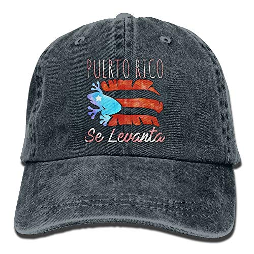 LLALUA Puerto Rico Se Levanta Frog Coqui Boricua Pride Classic Unisex Baseball Cap Adjustable Washed Dyed Cotton Ball Hat Black