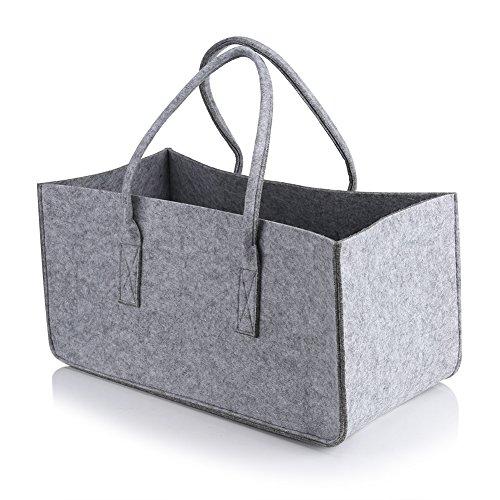 Mr.do/® Panier en feutre dans le panier en gris fonc/é Livres Magazines Jouets ou Organisateur de bois de chauffage avec une conception de tissus /à main respirante