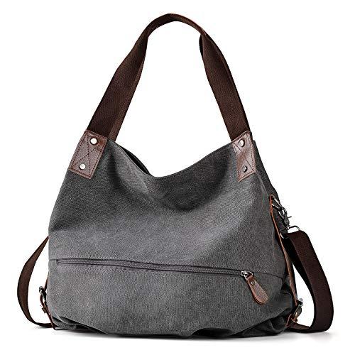 Handtasche Damen,Fanspack Hobo Bag Canvas Tasche Damen Umhängetasche Canvas Schultertasche Crossbody Tasche Handtasche Mädchen Hobo Tasche (Grau)