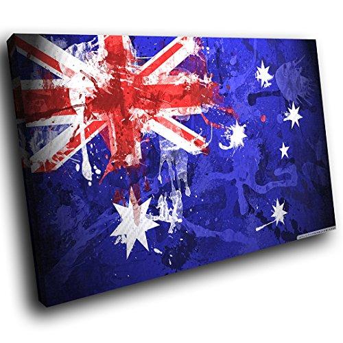 ... AB225B Gerahmte Leinwanddruck Bunte Wand Kunst   Australien Flagge  Grunge   Modernes Abstraktes Wohnzimmer