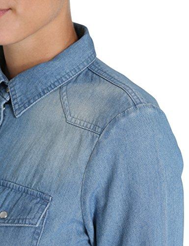 Berydale Damen Jeansbluse Blau (Hellblau)
