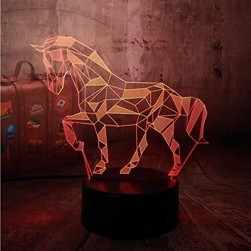 Tier 3D Illusion Led Nachtlicht, Lustige 3D Pferd Nachttisch Schreibtischlampe Mit Touch Control Base Für Kinder Schlafzimmer, Geburtstagsgeschenk, Weihnachtsgeschenk