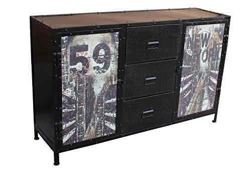 SIT-Möbel 6303-11 (STEEL) Sideboard, Metall, korpus schwarz / front bunt, 40 x 140 x 88 cm - 2