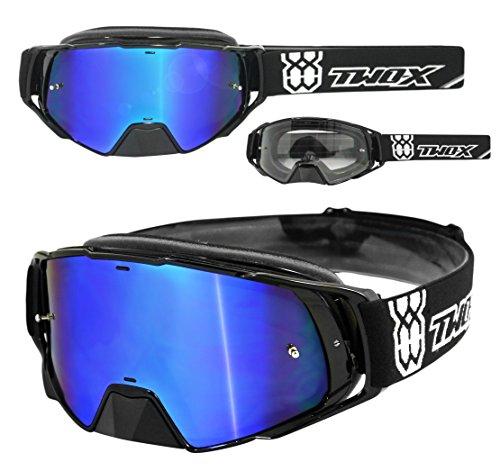 TWO-X Rocket Crossbrille schwarz Glas verspiegelt blau - MX Brille Nasenschutz Motocross Enduro Spiegelglas Motorradbrille Anti Scratch MX Schutzbrille Nose Guard
