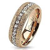 Bungsa 52 (16.6) Glitzer Rosegold Ring kristallbesetzt für Damen & Herren Edelstahl rotgold 49 52 54 57 60 62 (Glitter Fingerring Partnerringe Verlobungsringe Trauringe Damenring rotgold rosé)