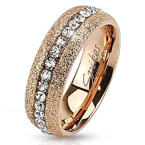 Bungsa® 57 (18.1) Glitzer Rosegold Ring kristallbesetzt für Damen & Herren Edelstahl rotgold 49 52 54 57 60 62 (Glitter Fingerring Partnerringe Verlobungsringe Trauringe Damenring rotgold rosé)