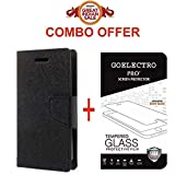 Goelectro Oppo A37 Flip Cover - For Luxury Mercury Diary Wallet Style Original Black Flip Cover Case for Oppo A37 Flip Cover for Oppo A37 + Premium 2.5D Curved Tempered Glass screen protector...(Transparent)
